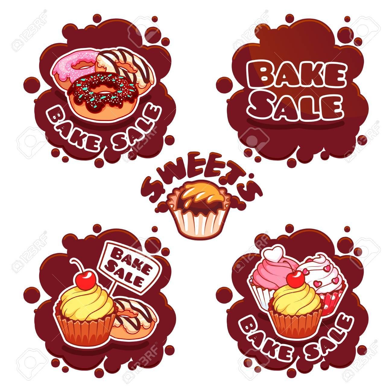 set of labels for bake sale in the form of chocolate spots stock vector