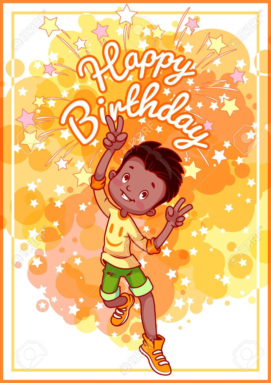 Greeting Card Birthday With A Happy African American Boy Vector