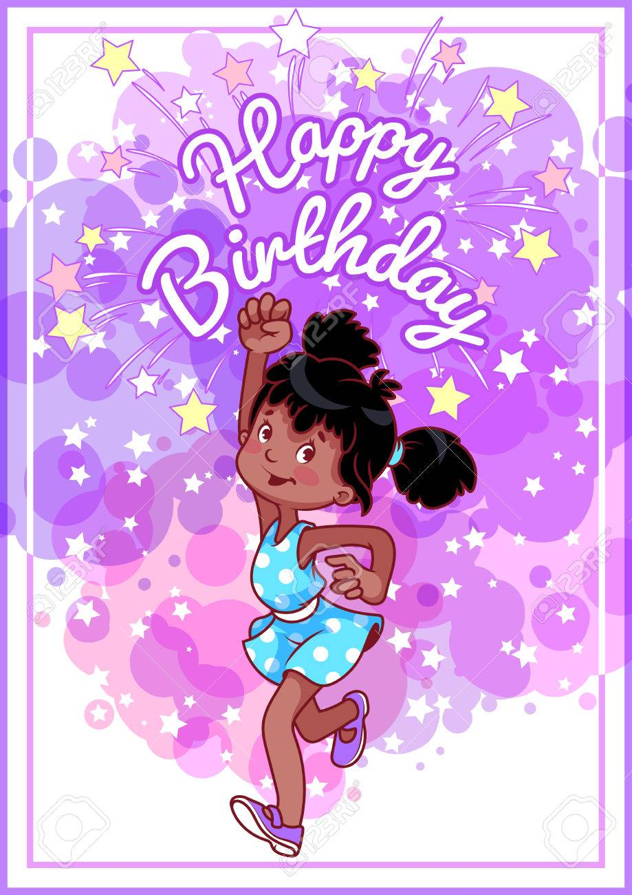 Greeting birthday card with a happy african american girl vector greeting birthday card with a happy african american girl vector template postcard in purple tones kristyandbryce Images
