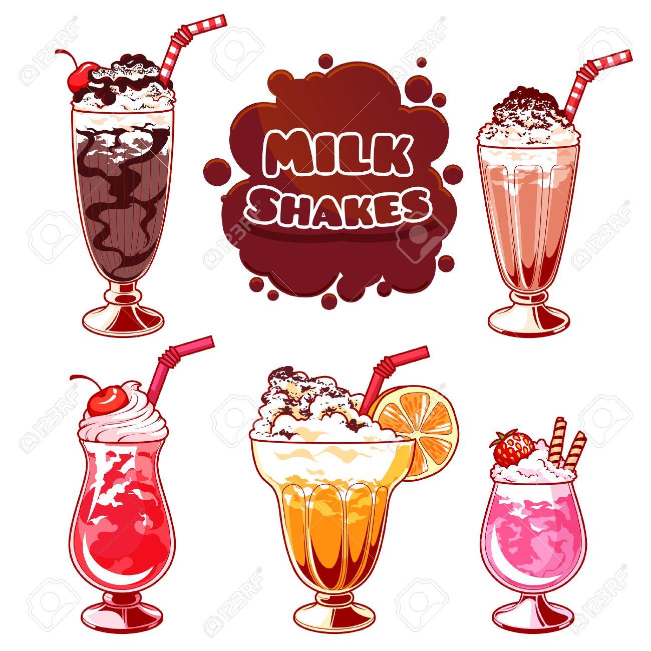 Set of different milkshakes. Chocolate milkshake, cherry milkshake, strawberry milkshake, vanilla milkshake and orange milkshake. Vector cartoon illustration isolated on a white background. - 52185161