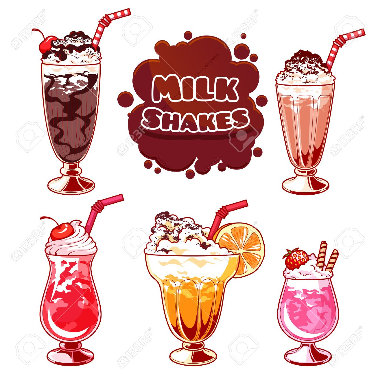 Ensemble De Différents Milkshakes Chocolate Milk Shake Milk Shake