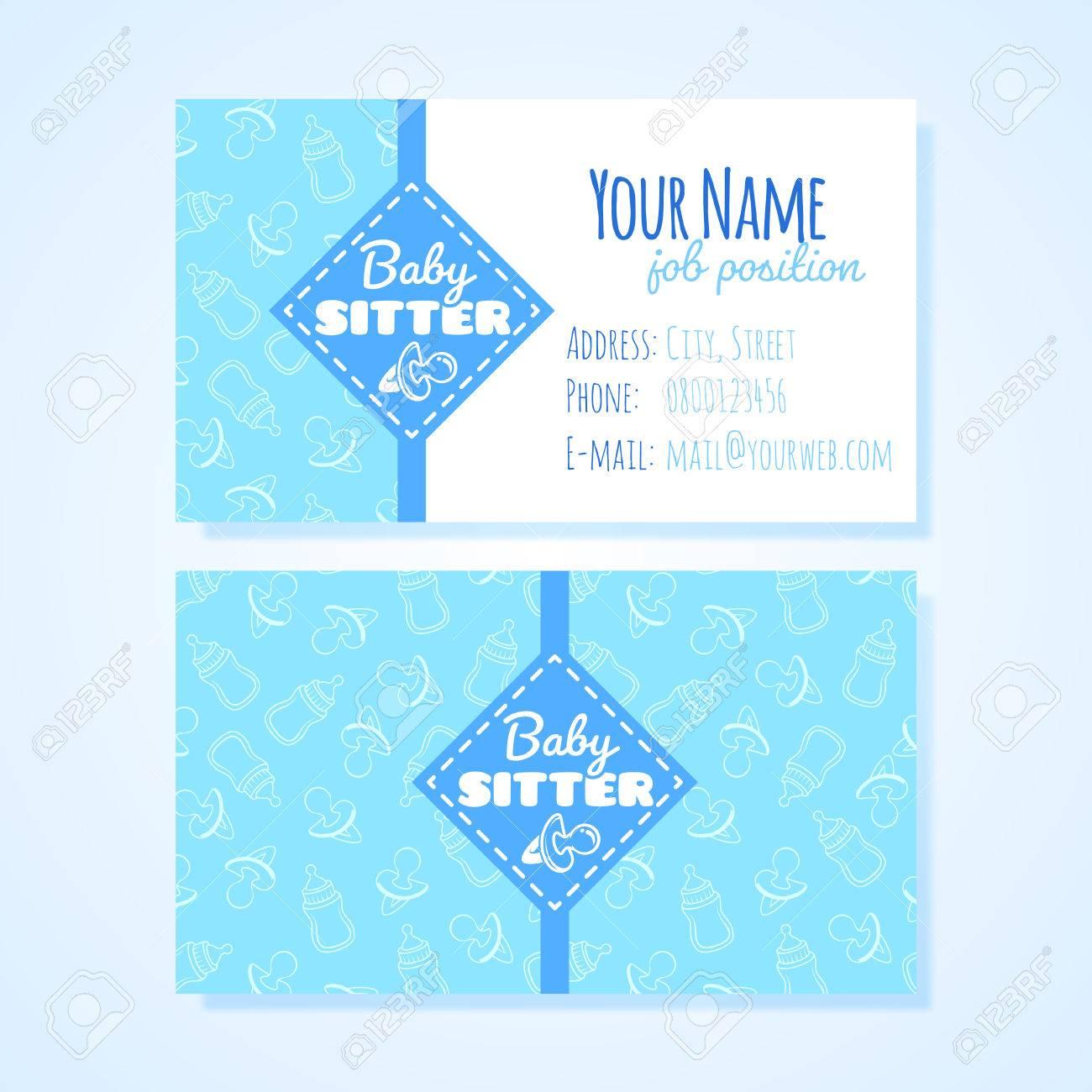 Deux Modèle De Carte De Visite Horizontale Pour Le Service De Baby Sitter