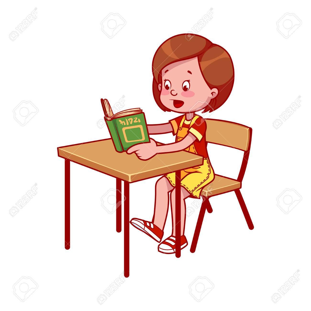 Schule Mädchen An Einem Schreibtisch Schule Ein Buch Zu Lesen Erste