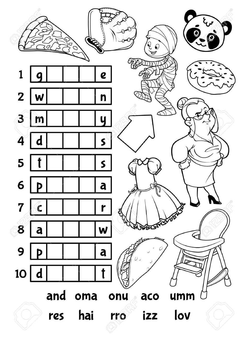 Rebus Juego Educativo Para Niños En Edad Preescolar Encuentra La Pieza Correcta De Las Palabras Ilustración Vectorial De Dibujos Animados