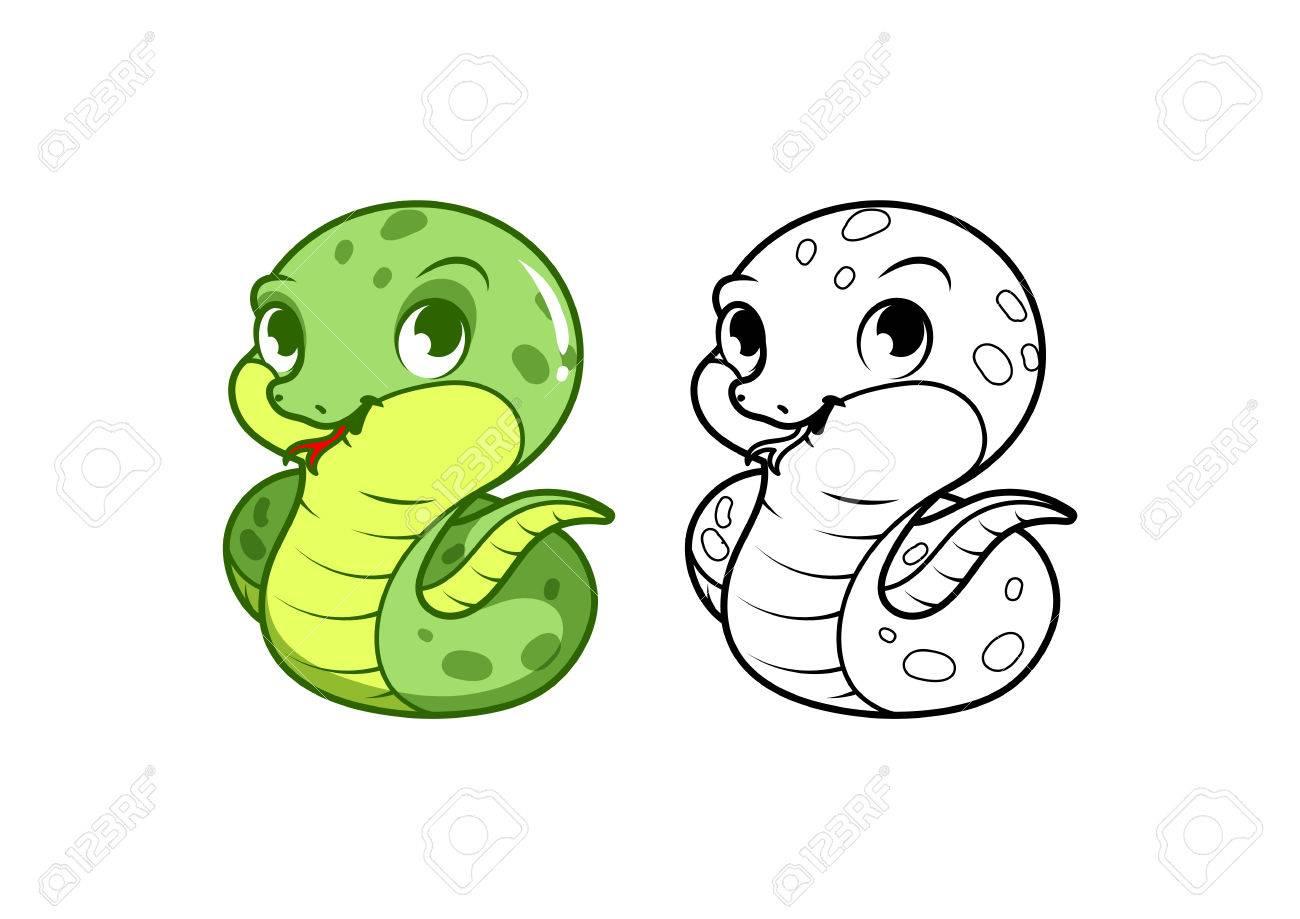 Pequeña Serpiente Verde Linda. Personaje De Dibujos Animados Vector ...