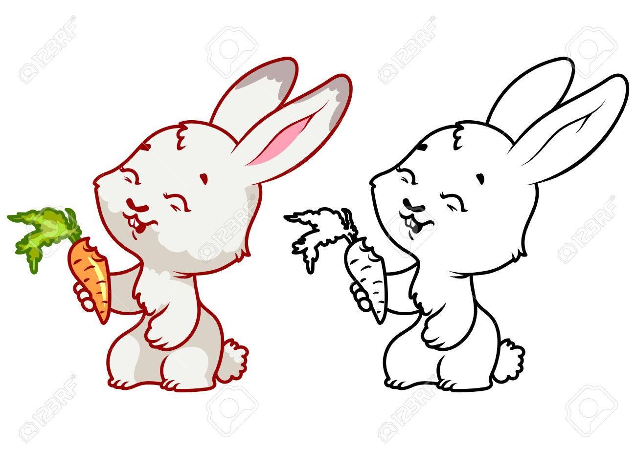 Petit Lapin Mignon Avec La Carotte Caractere Vectoriel De Dessin