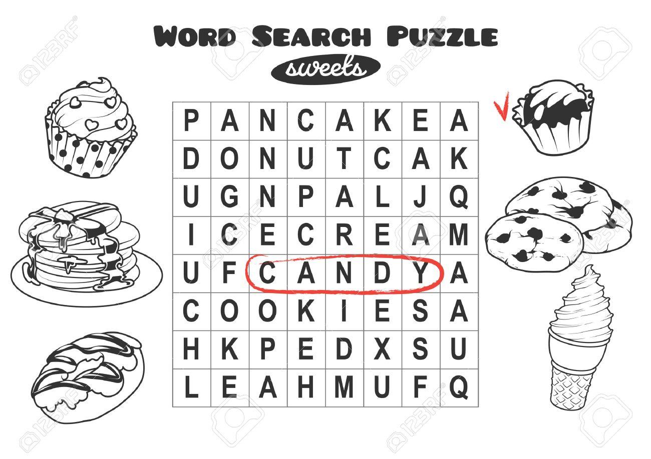 Lernspiel Für Kinder, Wortsuche. Wortsuchrätsel Mit Süßigkeiten ...