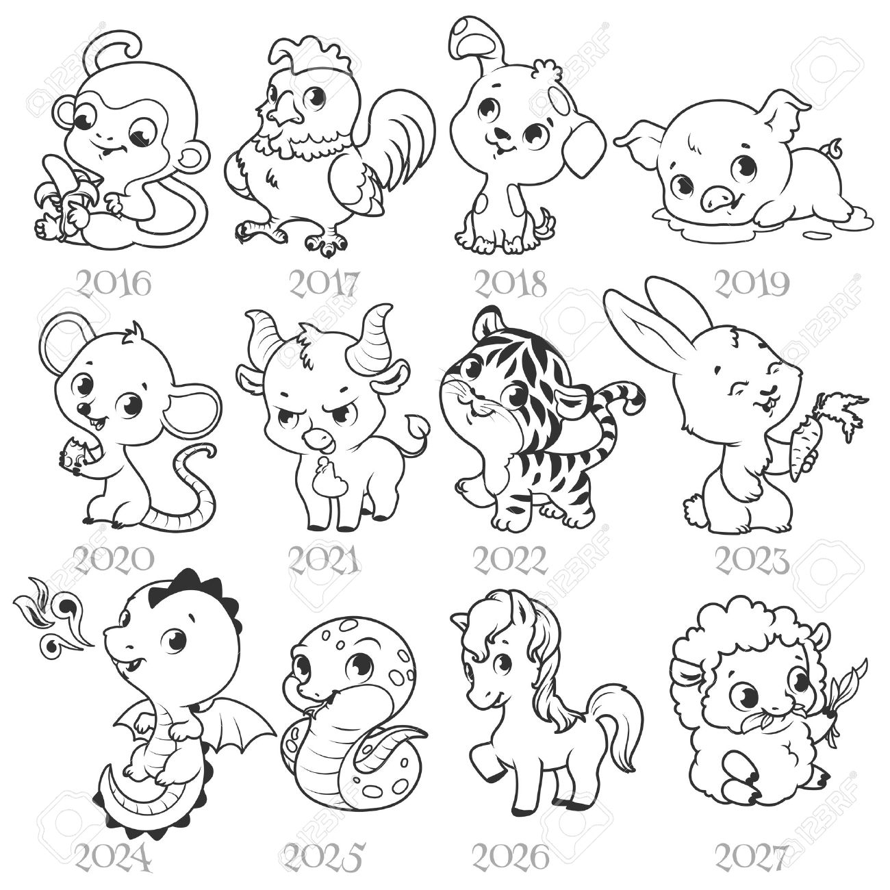 Set of zodiac signs in cartoon style chinese zodiac vector set of zodiac signs in cartoon style chinese zodiac vector illustration isolated on a buycottarizona Image collections