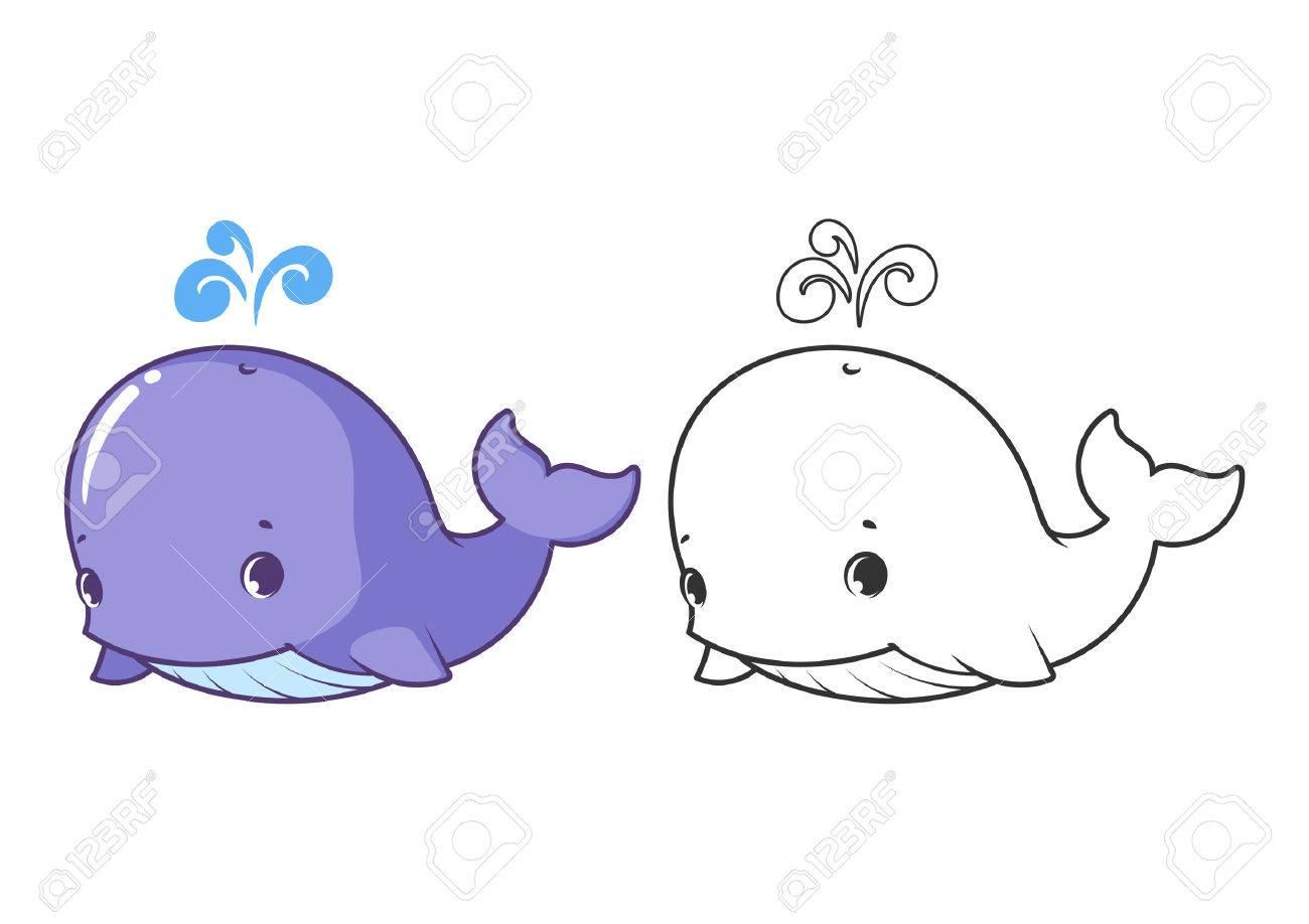 Petite Baleine Mignonne Caractere Vectoriel De Dessin Anime Isole