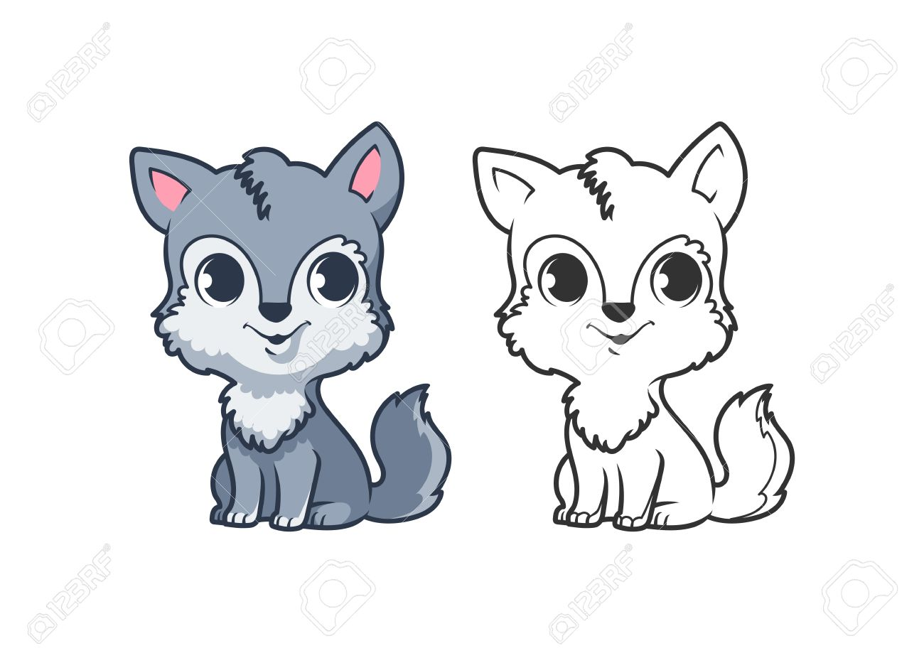 Uncategorized Cute Cartoon Wolf cute little wolf cartoon vector character isolated on a white background with black outline