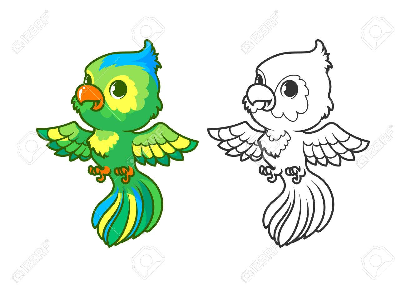 Cute Little Parrot. Cartoon Vector Character Isolated On A White ...