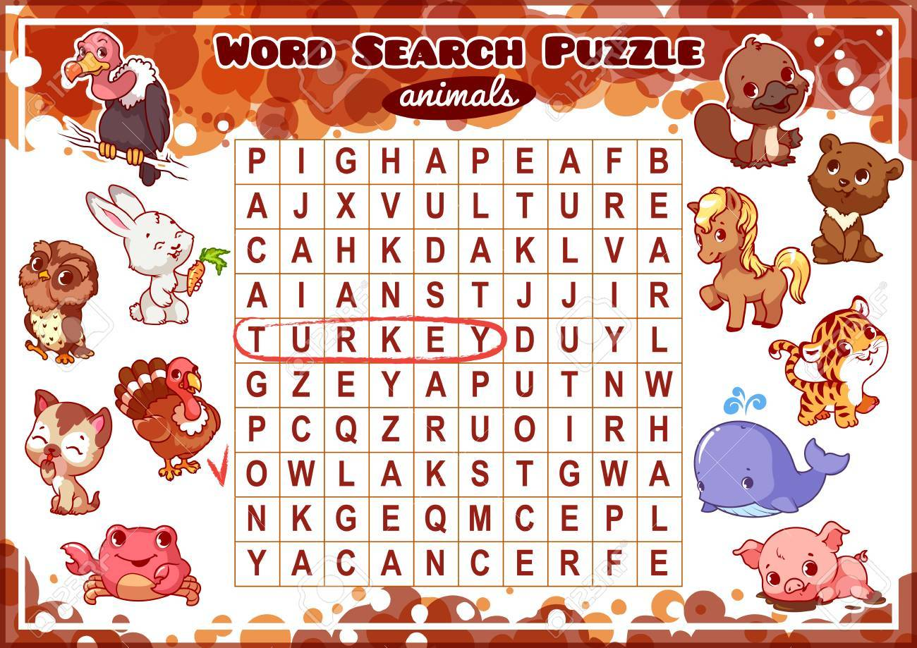 Educational game for kids, word search  Word search puzzle with