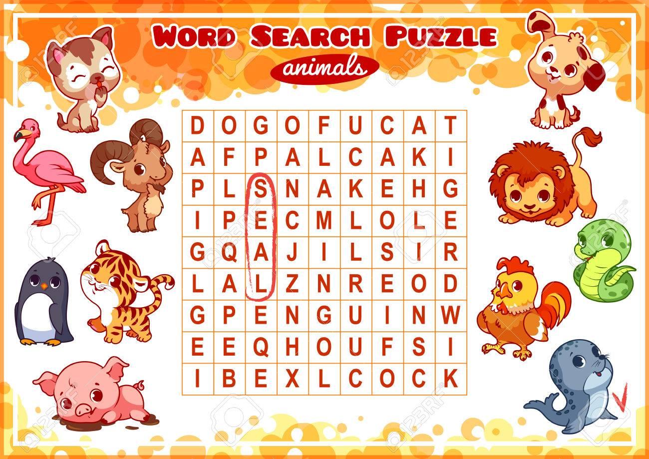 Lernspiel Für Kinder, Wortsuche. Wortsuchrätsel Mit Tieren ...