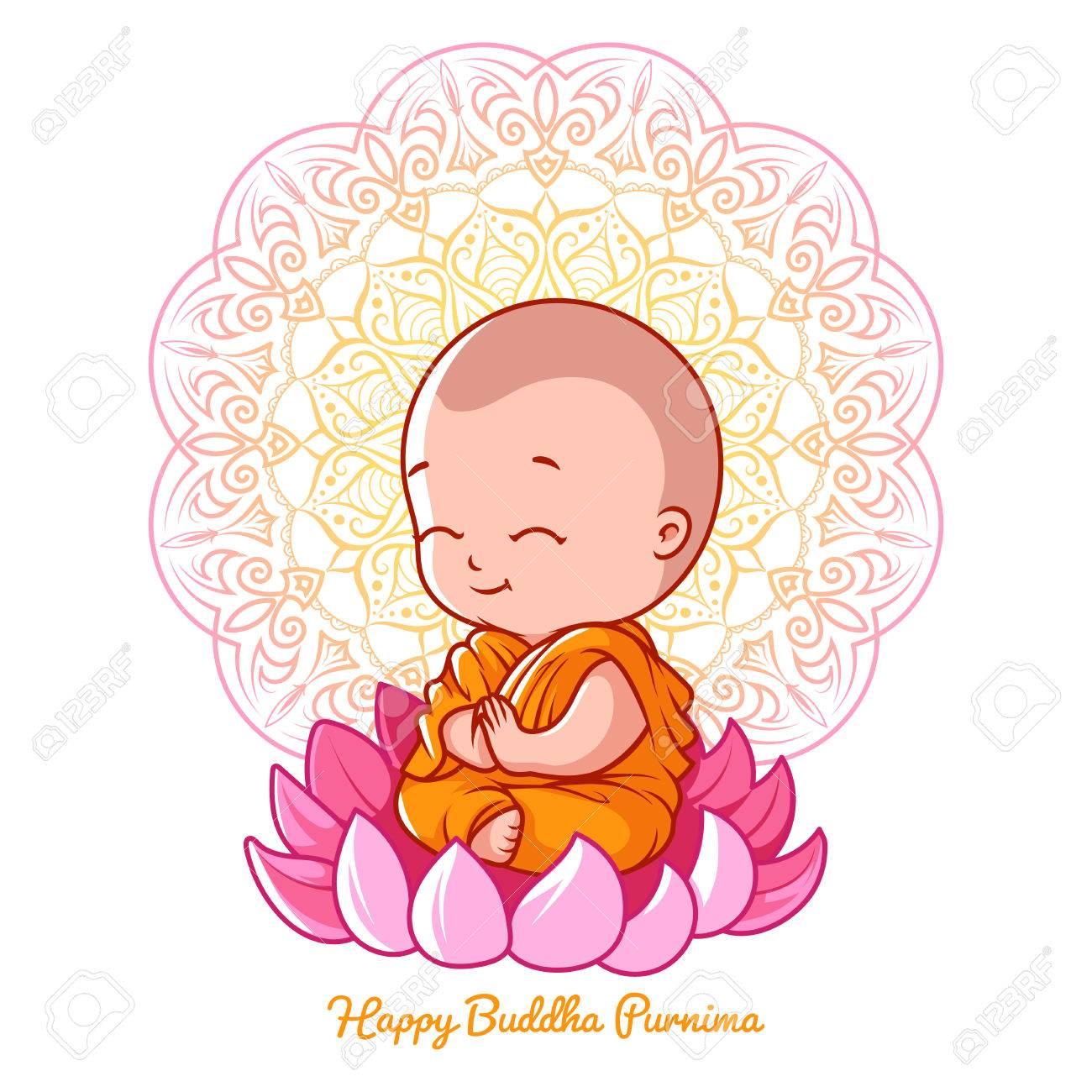 Little Cartoon Monk On The Lotus Greeting Card For Buddha Birthday