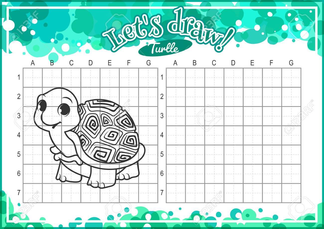 Juego Educativo Para Los Niños. Cómo Dibujar Tortuga Linda De La ...
