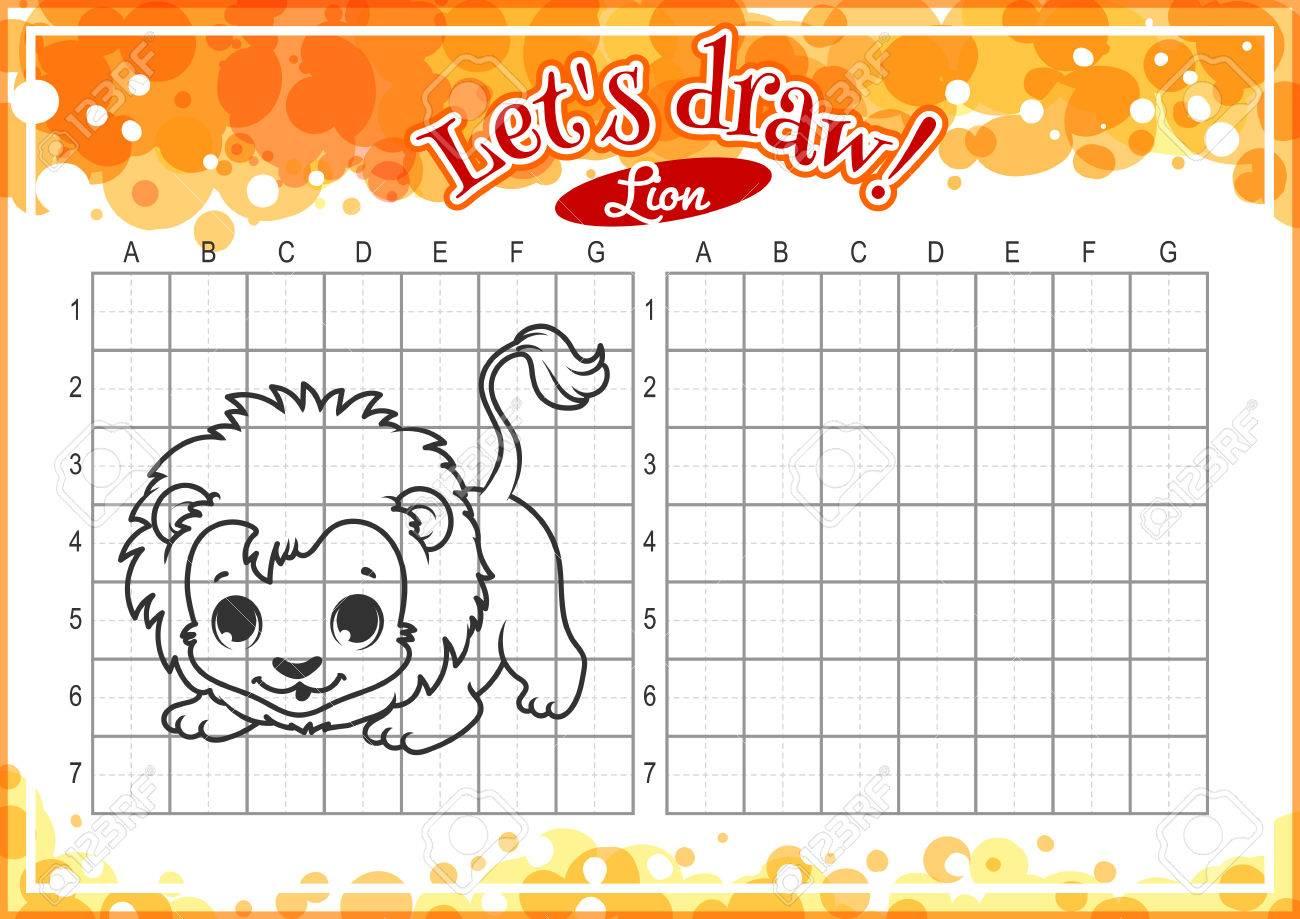Lernspiel Für Kinder. Wie Niedlichen Cartoon-Löwen Zu Zeichnen ...