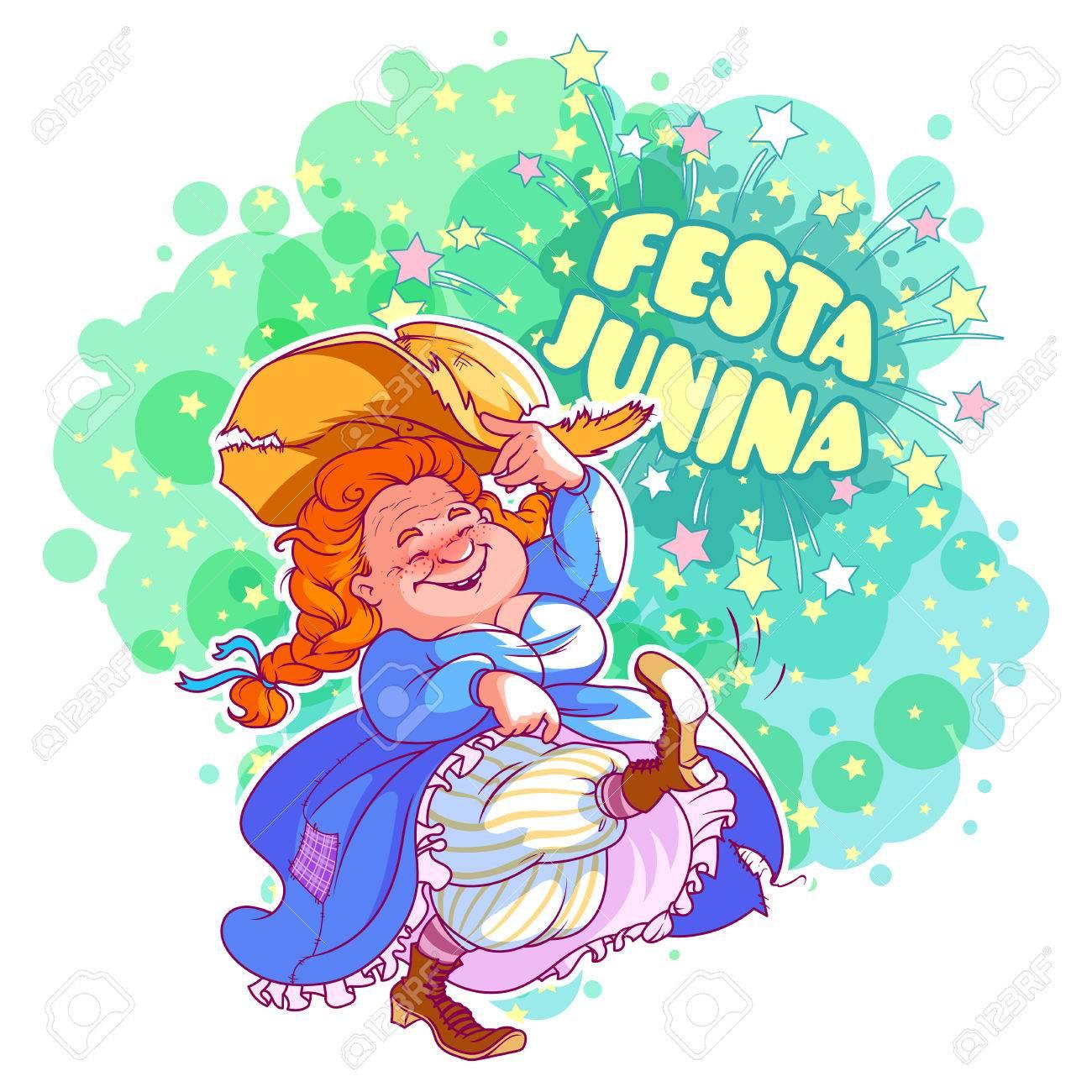 Greeting card for june festival in brazil dancing old lady in greeting card for june festival in brazil dancing old lady in blue dress vector m4hsunfo