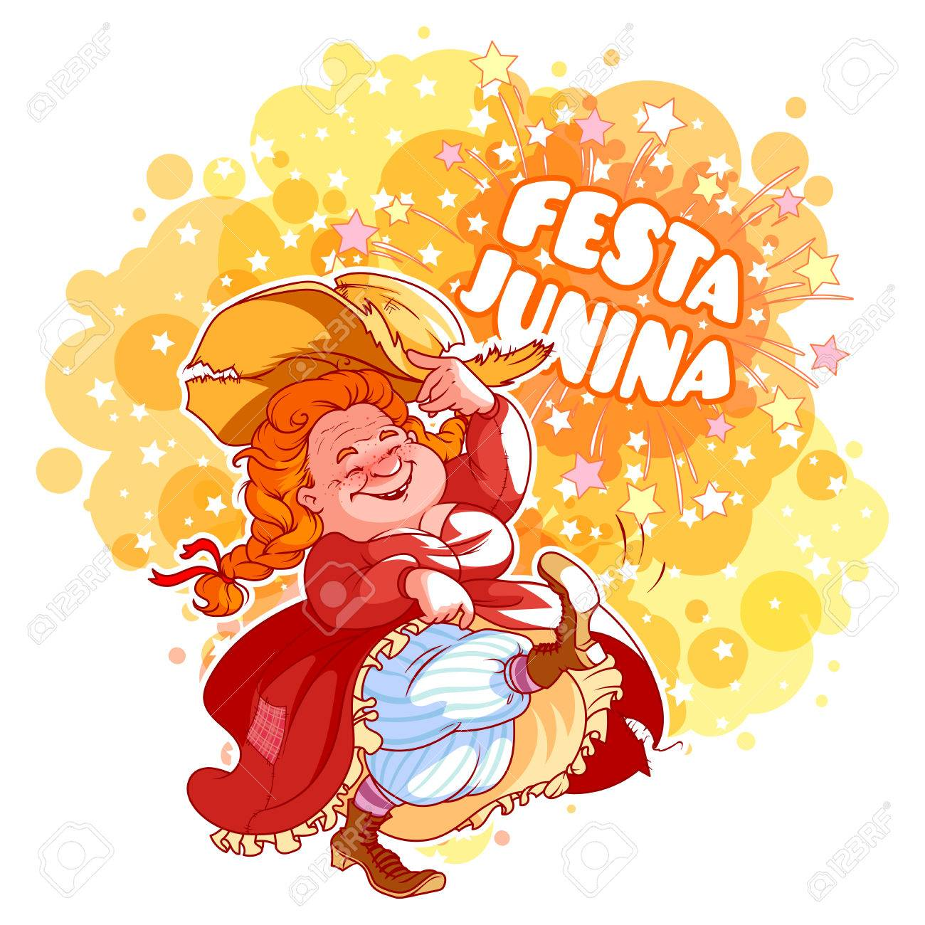 Greeting card for june festival in brazil dancing old lady in greeting card for june festival in brazil dancing old lady in red dress vector m4hsunfo