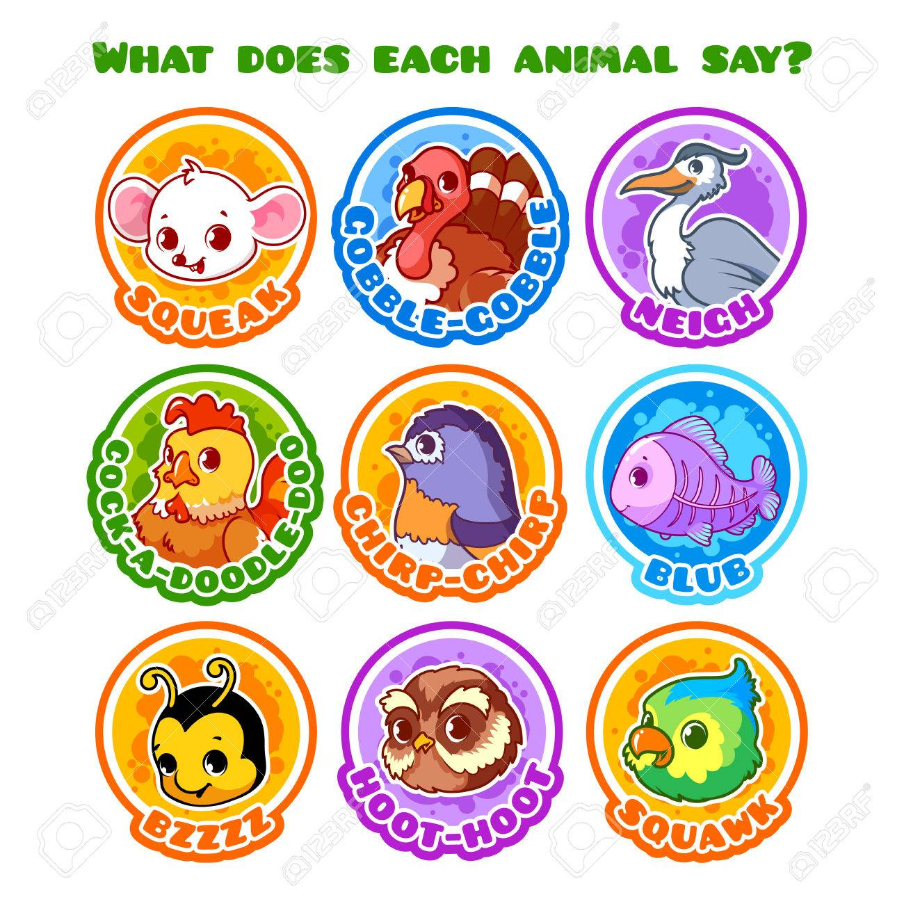 Image of: Photos Set Of Round Stickers With Animals And Their Sounds Stock Vector 56951959 Shutterstock Set Of Round Stickers With Animals And Their Sounds Royalty Free