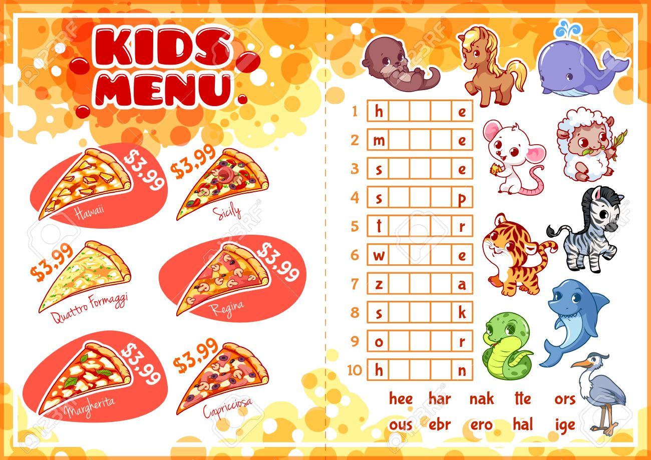 Kids Menu For Fastfood With Game Pizza Menu Template Menu – Kids Menu Template