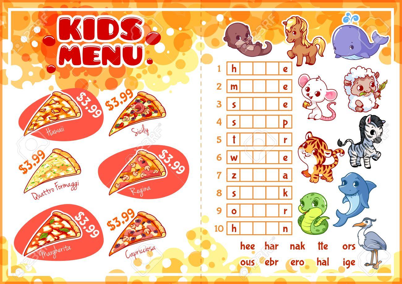 Kids Menu For Fast-food With Game. Pizza Menu. Template Menu ...