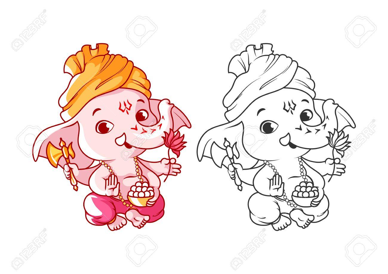 Dibujos Animados Poco Ganesha. Página Para Colorear. Ilustración Del ...