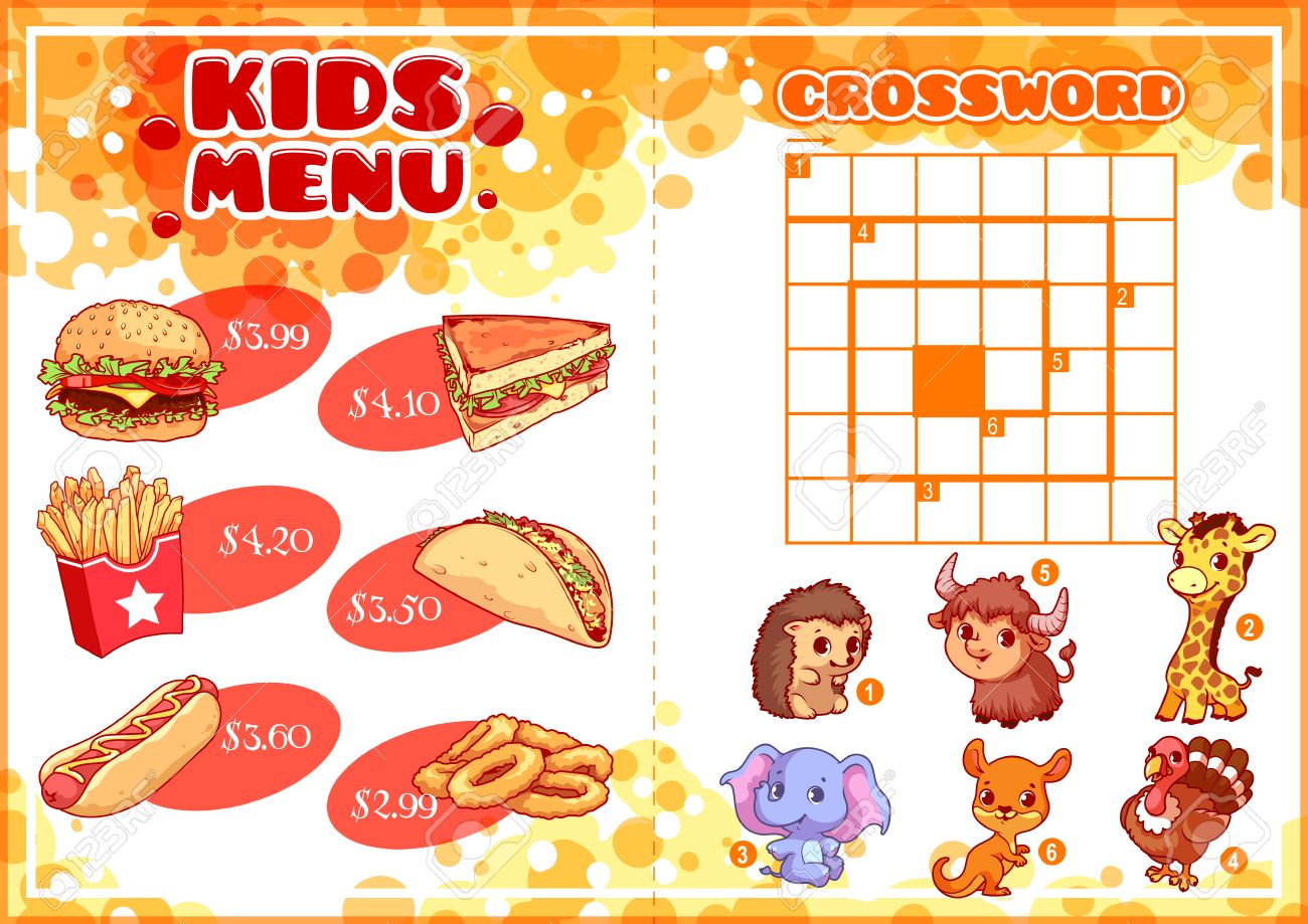 Kids Menu For Fast Food With Spiral Crossword Hamburger Hot Dog