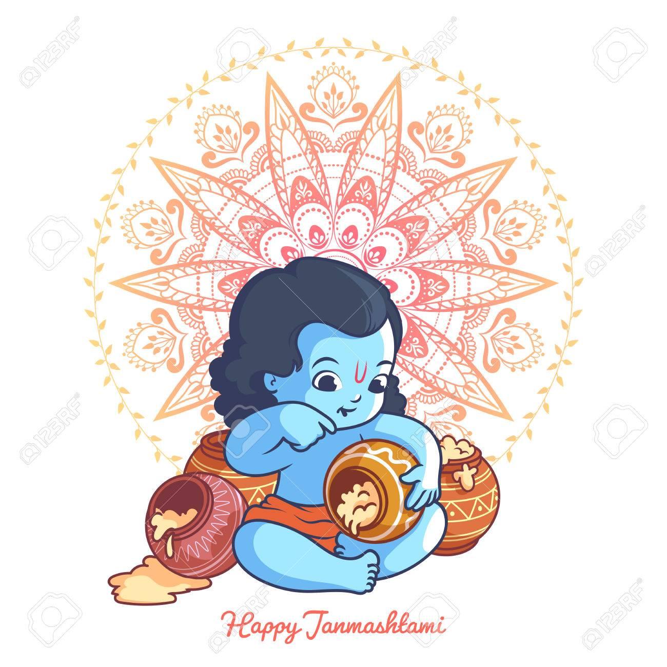 Kleine Comic Krishna Mit Einem Topf Makhan Grusskarte Fur Krishna