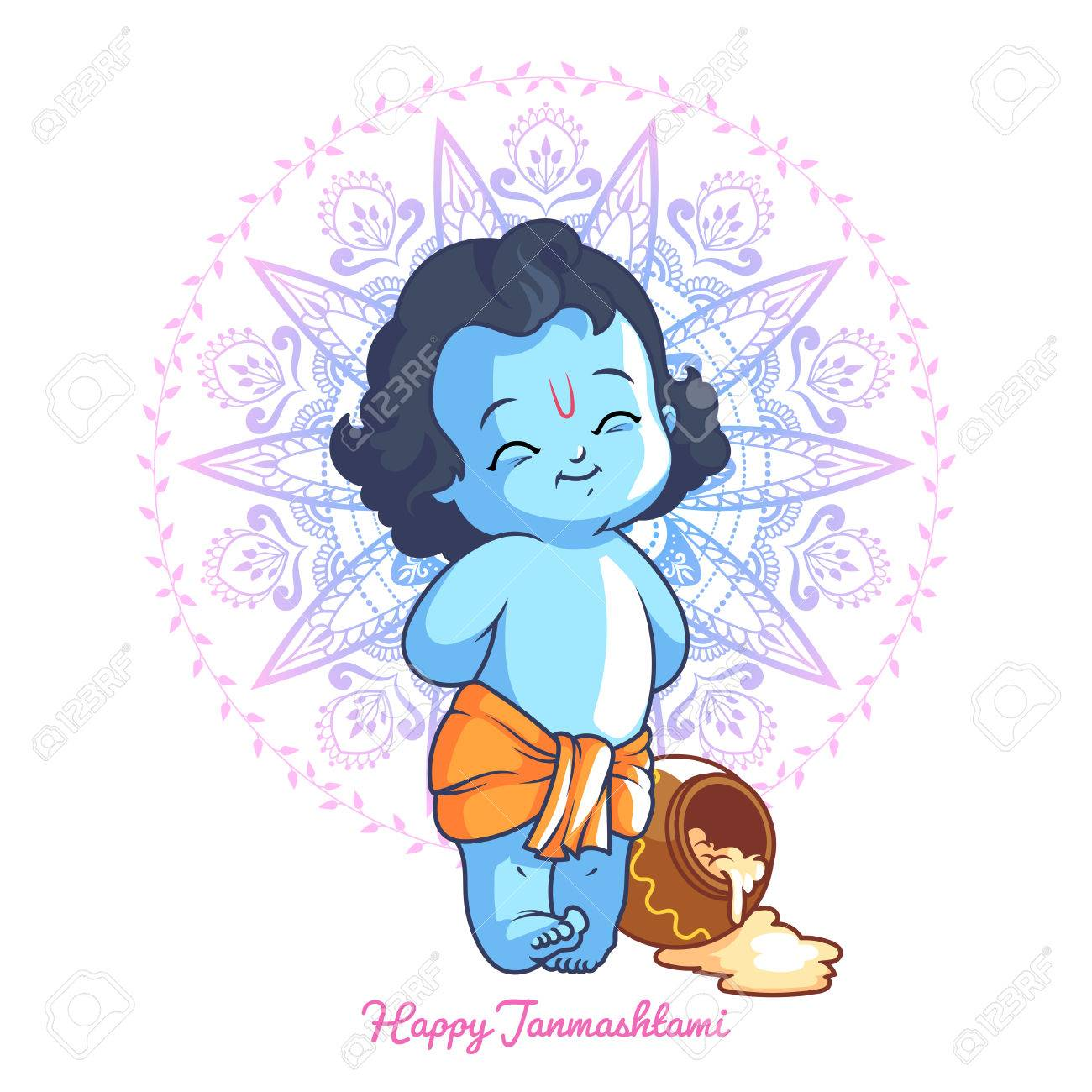 Little Cartoon Krishna With A Pot Of Butter Greeting Card For