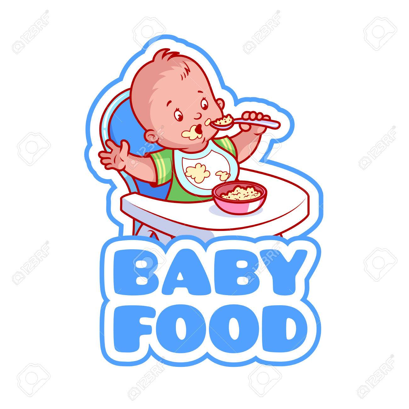 Cute kid in baby highchair with plate of porridge. Logo for baby food company.  sc 1 st  123RF.com & Cute Kid In Baby Highchair With Plate Of Porridge. Logo For Baby ...