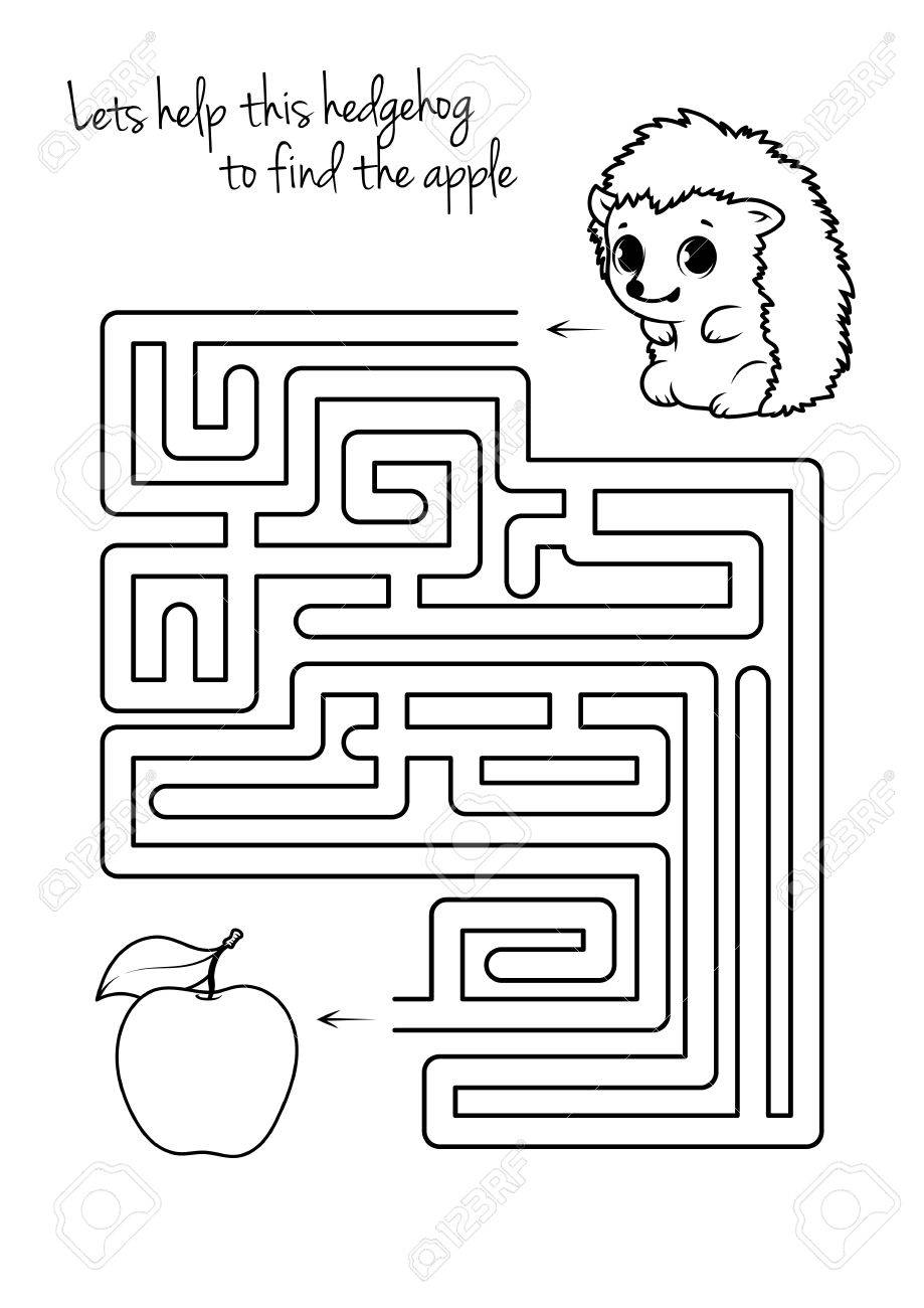 Maze Game For Kids With Hedgehog And Apple. Let\'s Help This Hedgehog ...