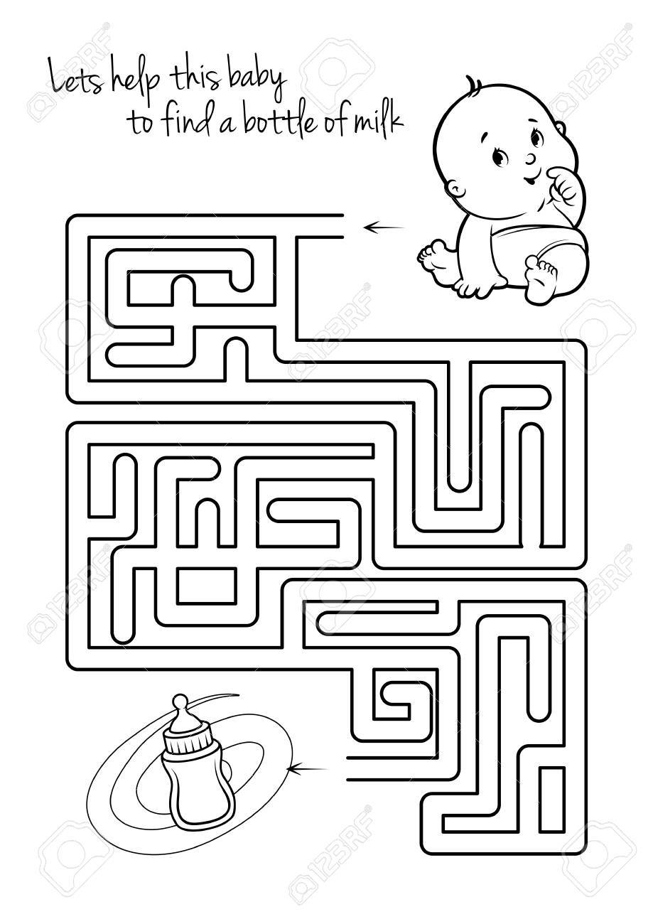 Maze Game For Kids With Infant And Milk. Let\'s Help This Baby ...