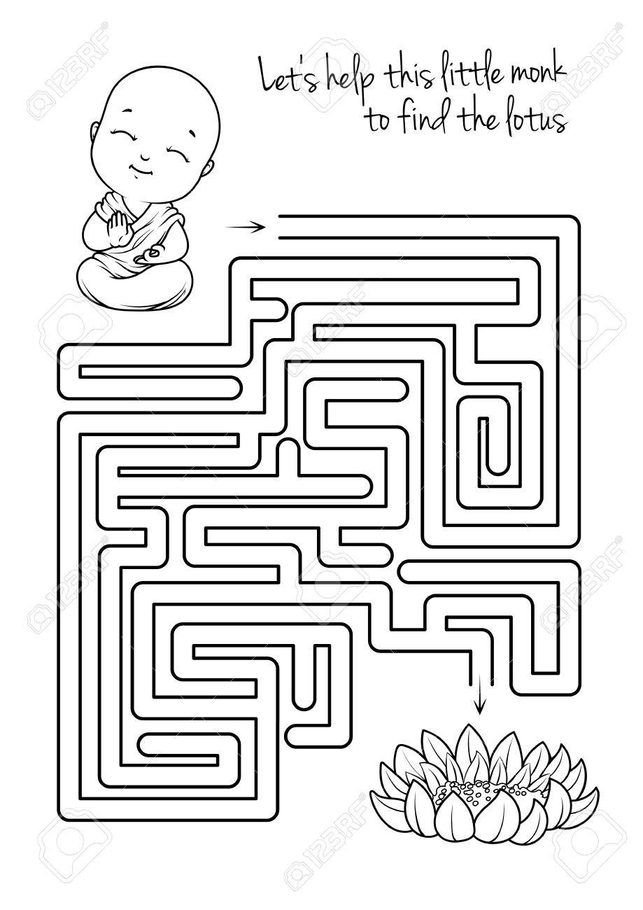 Maze Game For Kids With Monk And Lotus. Let\'s Help This Little ...