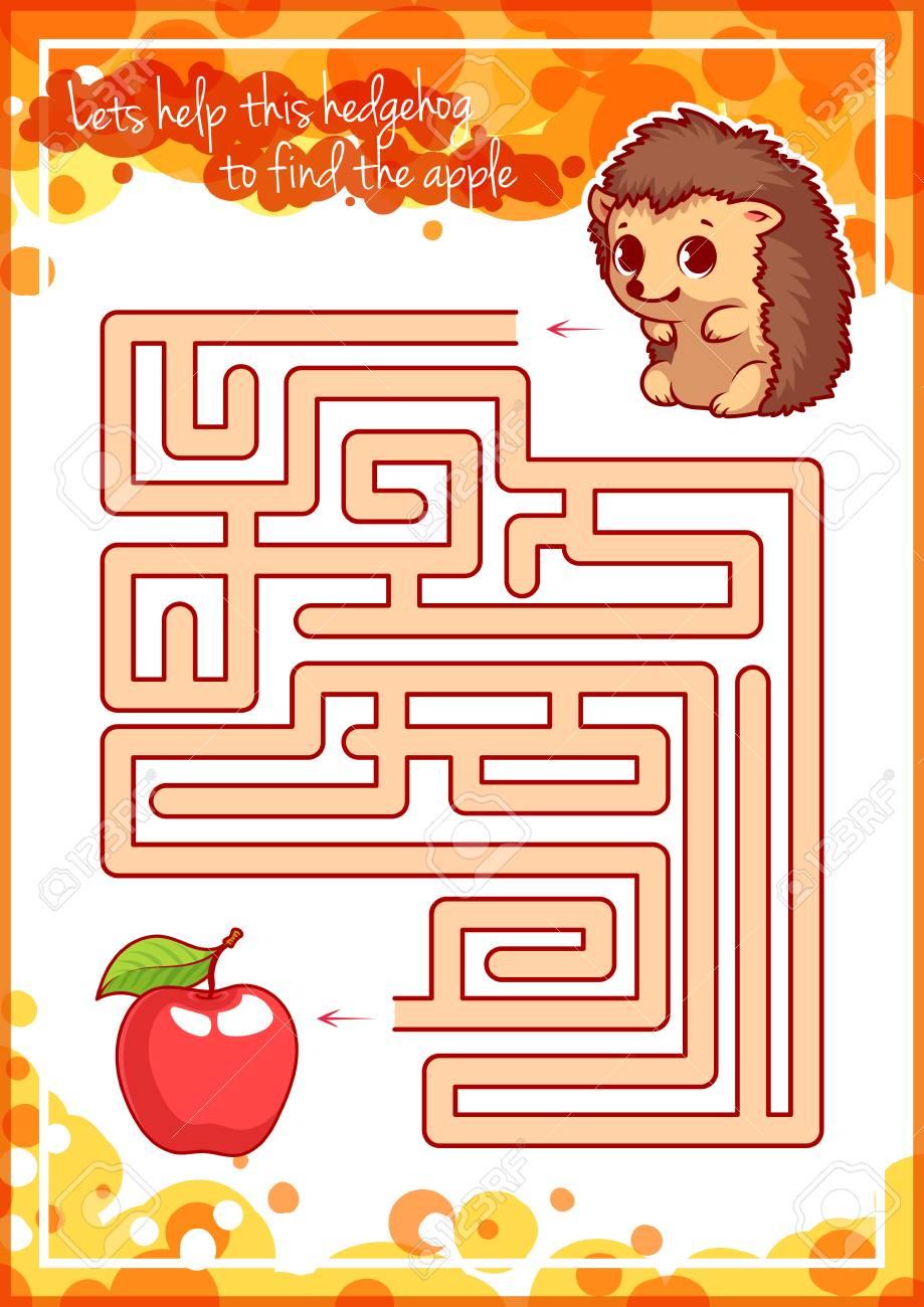 Maze Spiel Für Kinder Mit Igel Und Apfel Lassen Sie Uns Diesen Igel