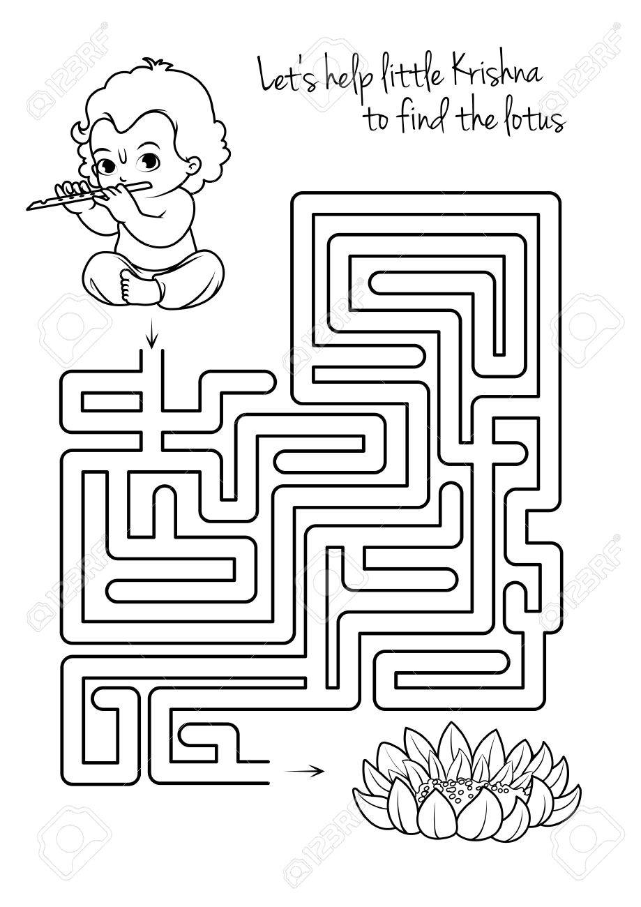 Maze Game For Kids With Krishna And Lotus. Let\'s Help Little ...