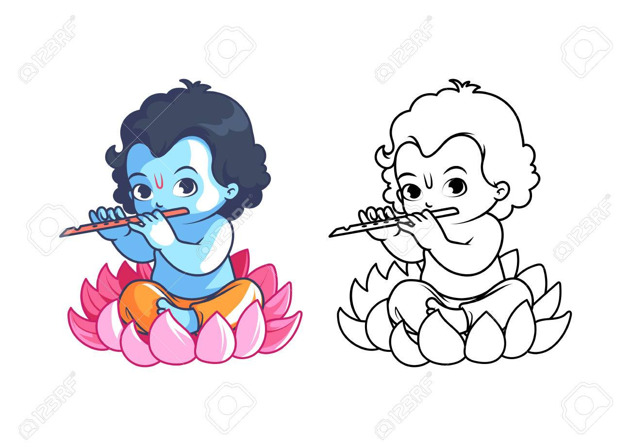little cartoon krishna with flute page for coloring book vector