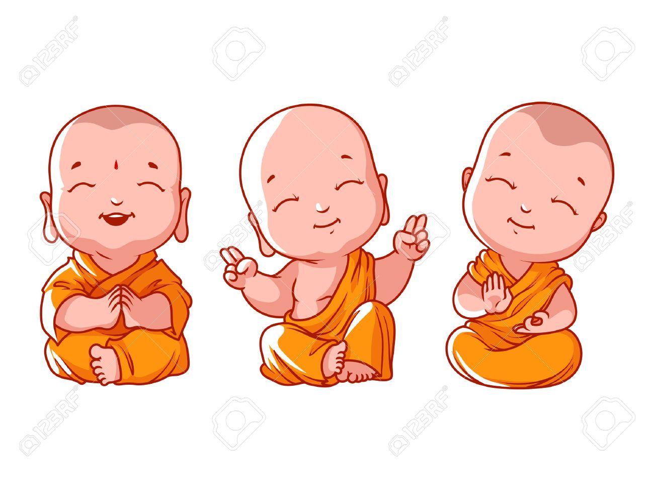 Set of little meditating monks. Vector cartoon illustration on a white background. - 60587017