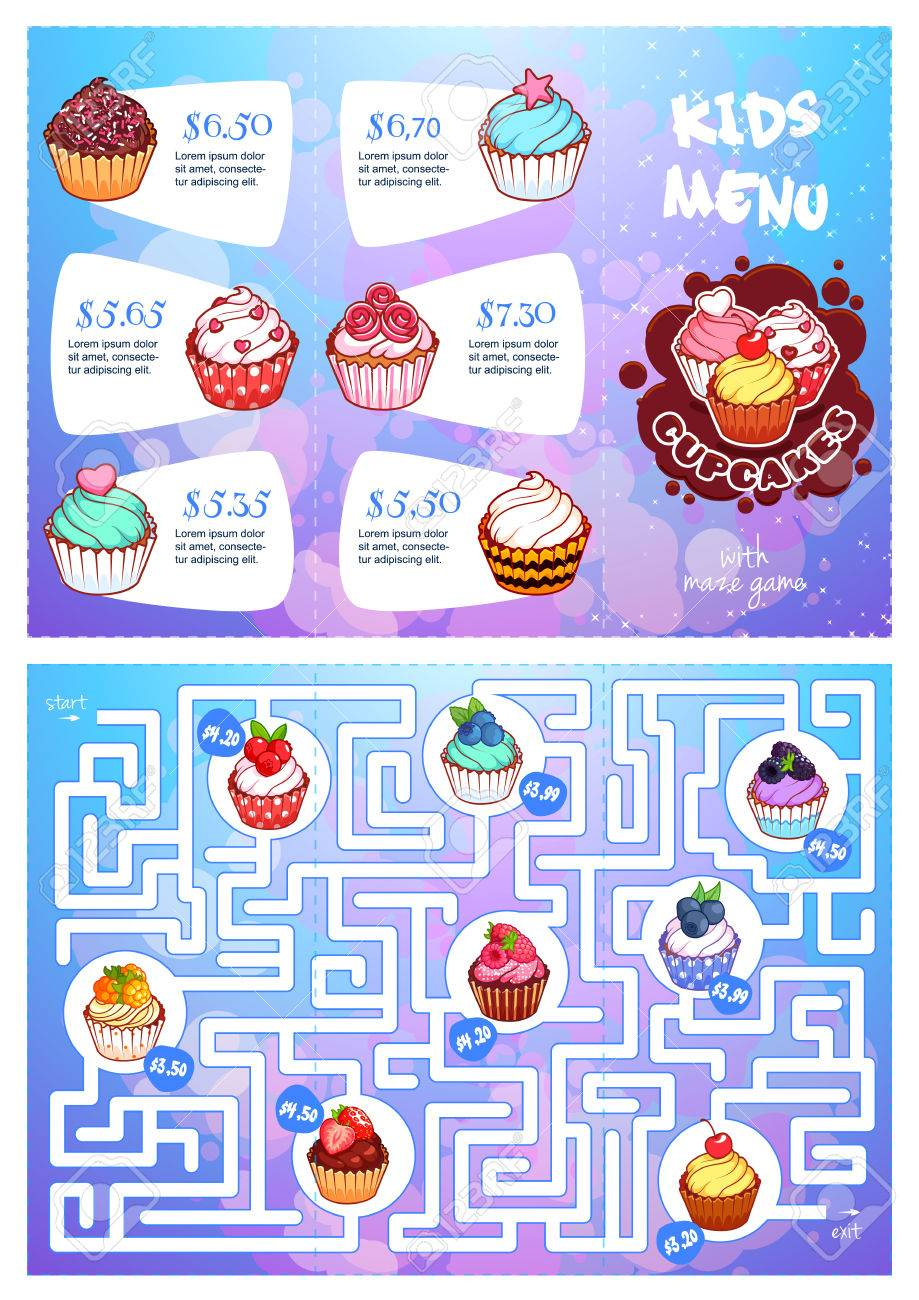 kids menu with cupcakes and maze game template tri fold menu