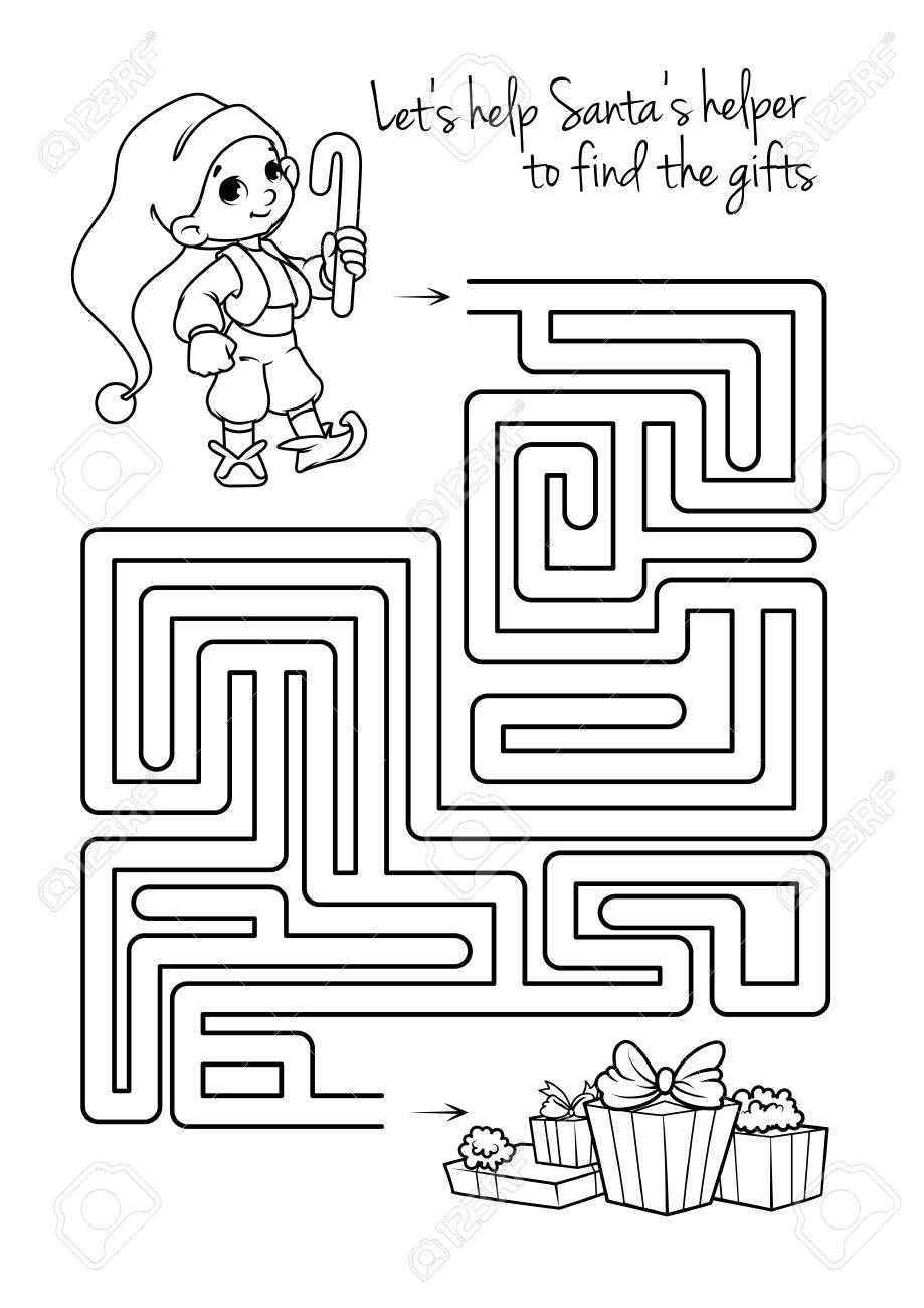 Maze game for kids with cute elf and gifts. Let's help this Santa's..