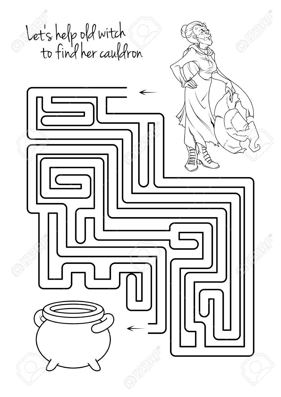Maze Spiel Für Kinder Mit Hexe. Lassen Sie Uns Diese Alte Hexe ...