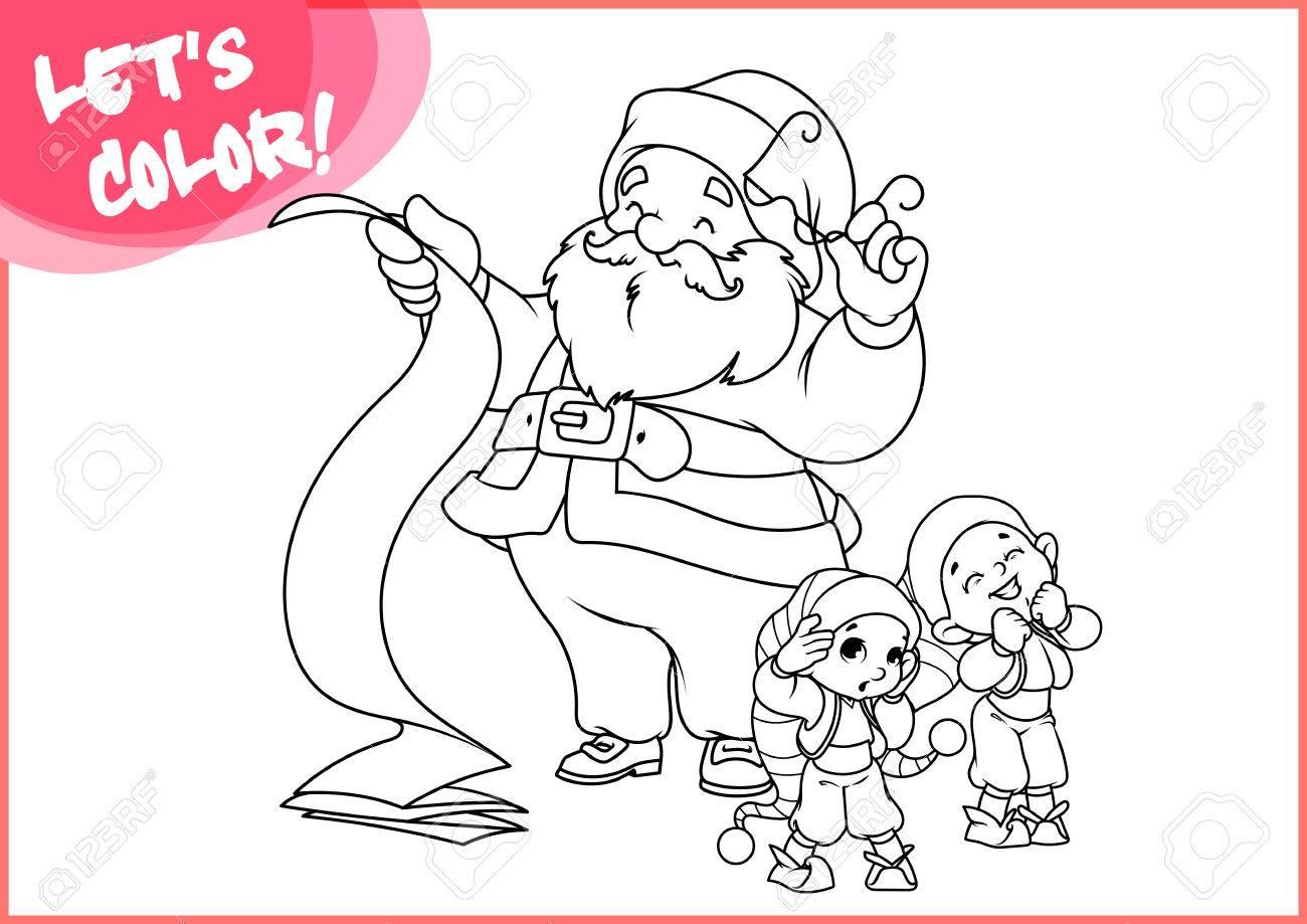 Papá Noel Con El Tiempo De Desplazamiento Y Dos Pequeños Ayudantes ...
