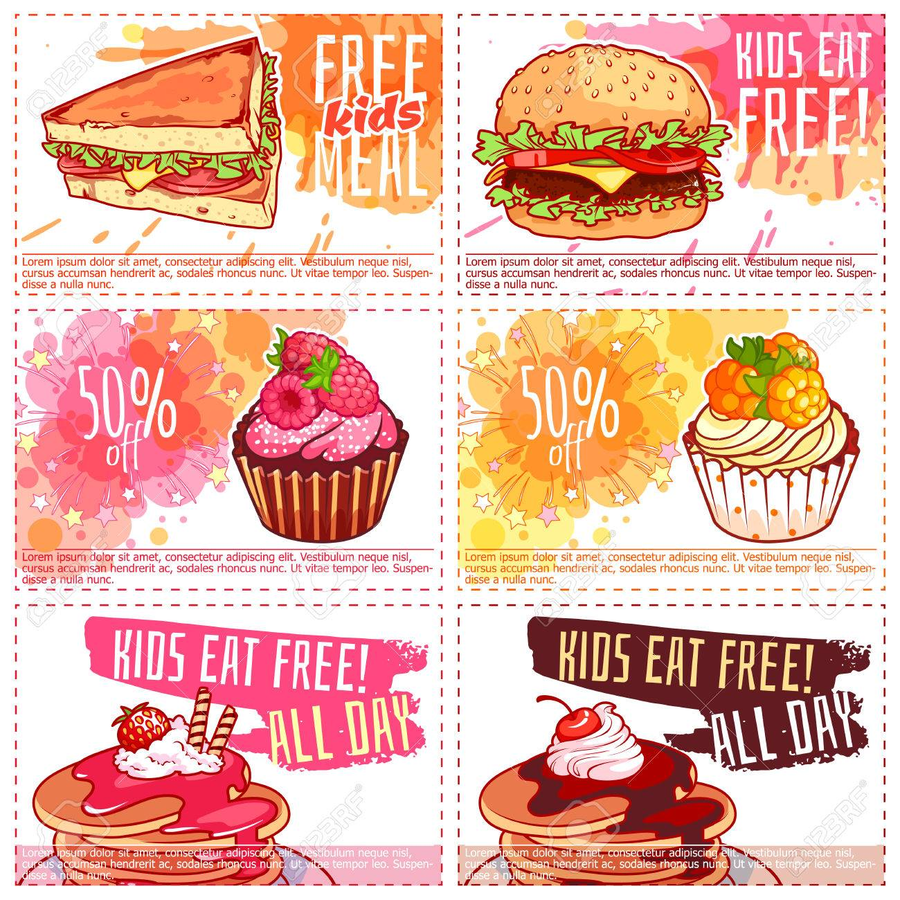 Six Different Kids Discount Coupons For Fast Food Or Dessert Royalty Free Cliparts Vectors And Stock Illustration Image 84431907