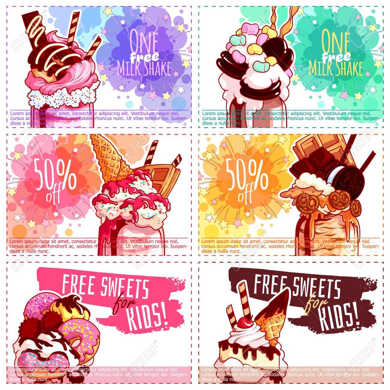 Seis Diferentes Cupones De Descuento Para Niños Para Milkshake ...