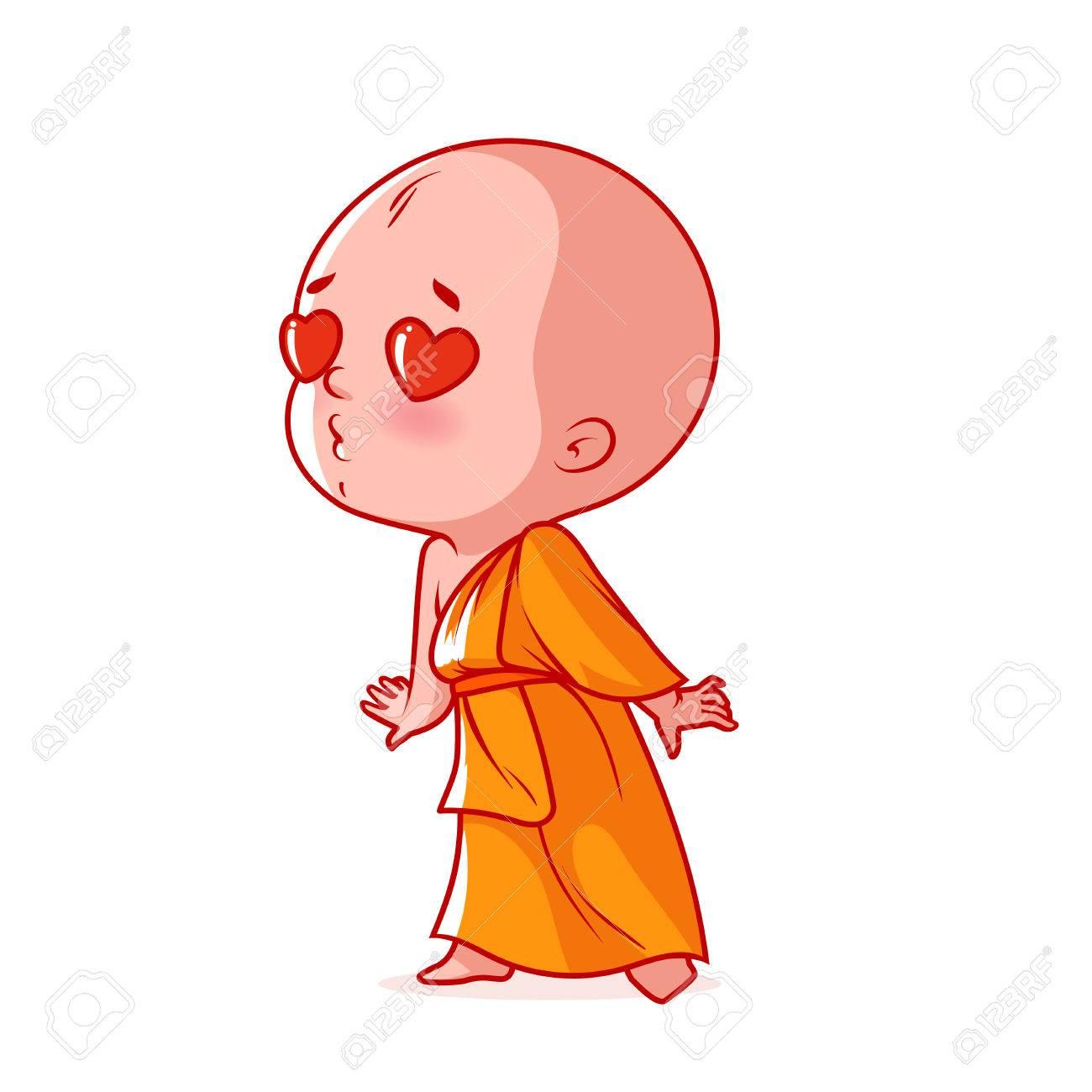 Dessin Amoureux Mignon un petit moine amoureux. mignon personnage de dessin animé. vector