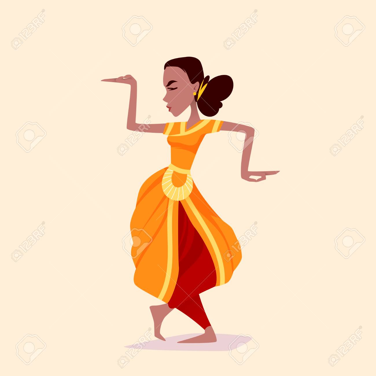 Indian Girl Dancer In The Posture Of Indian Dance Vector Cartoon Royalty Free Cliparts Vectors And Stock Illustration Image 88179272