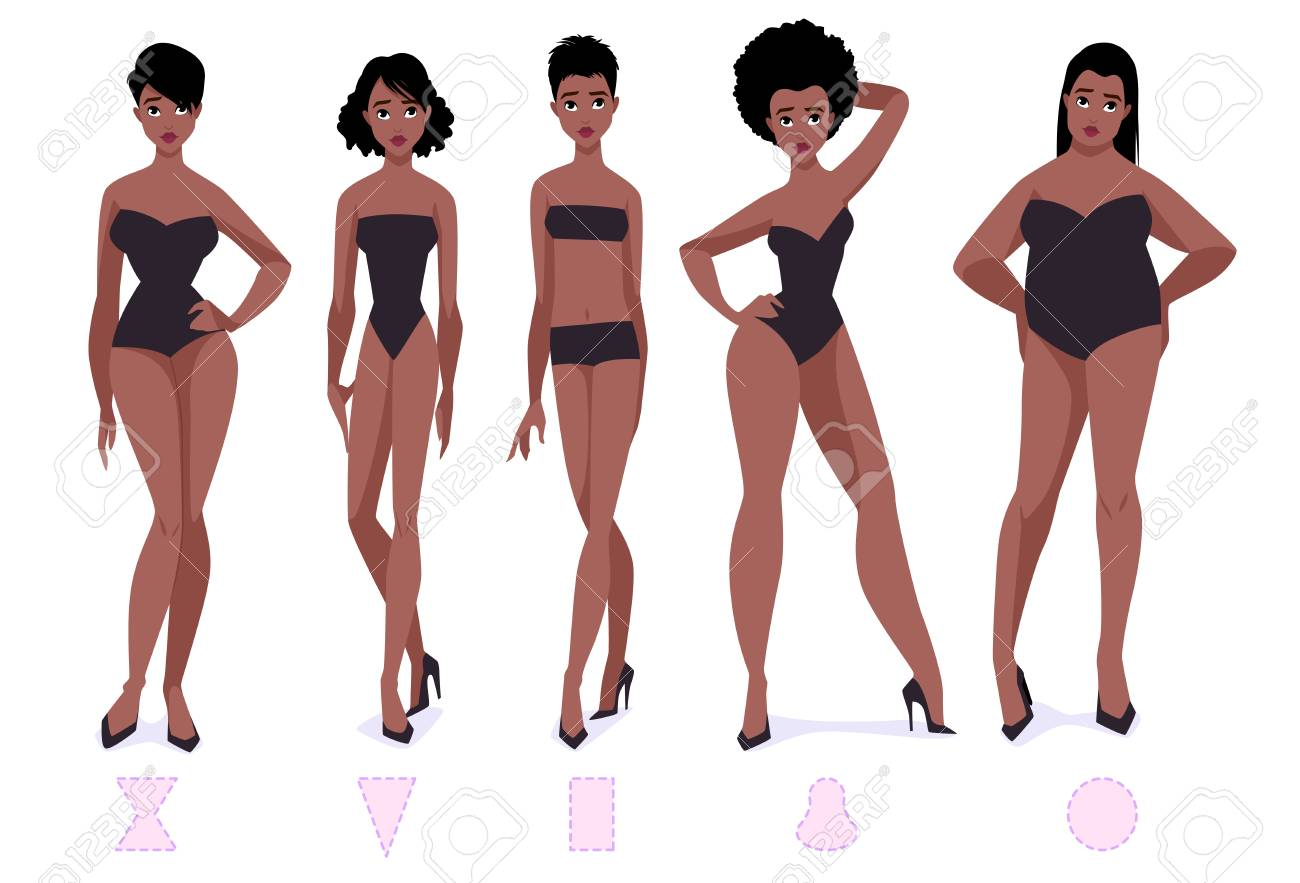 88d19263f92 Set of female body shape types - five types. African american women. Vector  cartoon