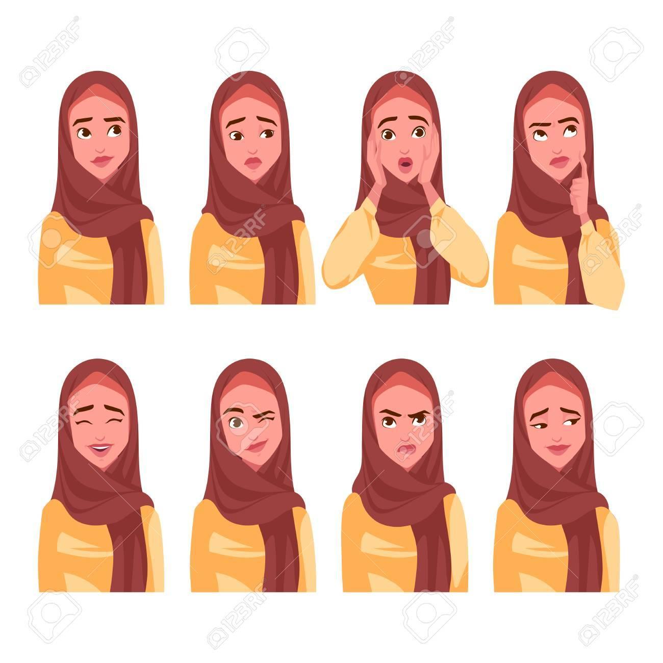 Set of Muslim woman's emotions. Vector cartoon illustration. - 89721738