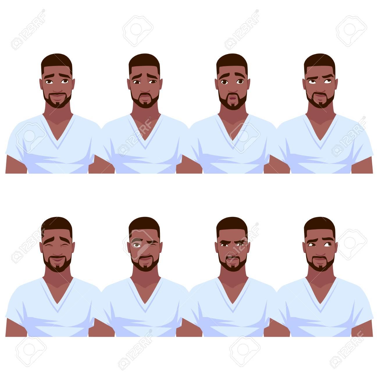 Set of African American man's emotions. Vector cartoon illustration. - 90449814