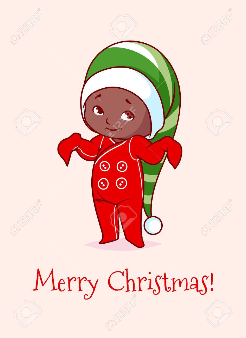 Carte De Noël Avec Un Joli Bébé Afro Américain Illustration De Dessin Animé De Vecteur