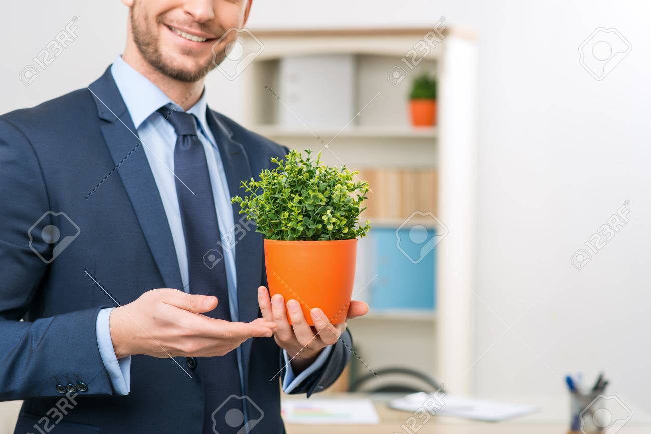 Piece of nature, Close up of flower pot in hands of smiling upbeat